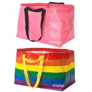 🌈NEW SET💖2 IKEA Rainbow & Pink Large Tote Bags